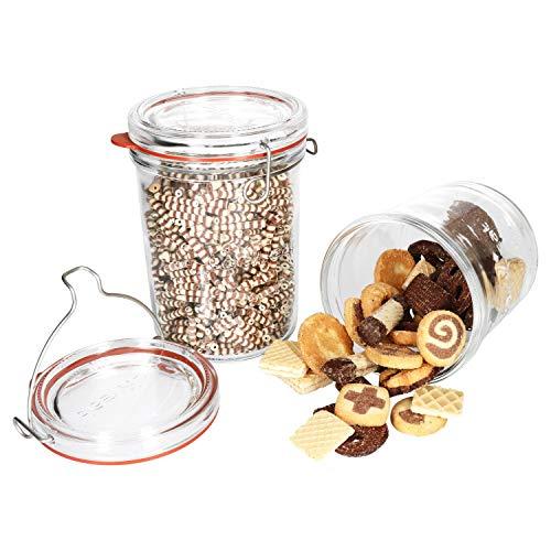 Luigi Bormioli Set di 2 barattoli Lock-Eat XL, 0,75 & 1 litro, per marmellata, pasta, cetrioli, ecc. I contenitori eleganti con coperchio in vetro e chiusura a staffa I Jar