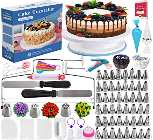 Cake Decorating Supplies Kit 206 PCS Baking Supplies Set for Beginners With Cake Turntable Stand Rotating Turntable,Russian Piping Tips Set, Cake Baking Supplies for Cake Lovers