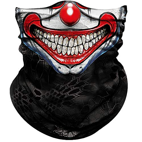 Obacle Face Mask Half for Dust Wind UV Sun Protection Seamless 3D Tube Mask Bandana for Men Women Durable Thin Breathable Tube Mask Motorcycle Riding Bike Sports (Clown Smile Face Neat Teeth)