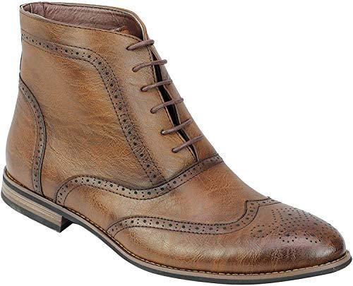 Mirada Apenada Vintage de Las Botas de Cuero de imitación Inteligente Encaje Formal de los Hombres de los Zapatos hasta Brogue [A2245H-BROWN-40]