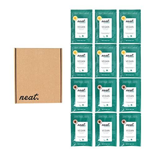 NEAT NUTRITION Vegan Protein Powder 100% Plant Based & Natural Gluten Free Pea Protein Shake 12 Sachets (Chocolate & Vanilla)