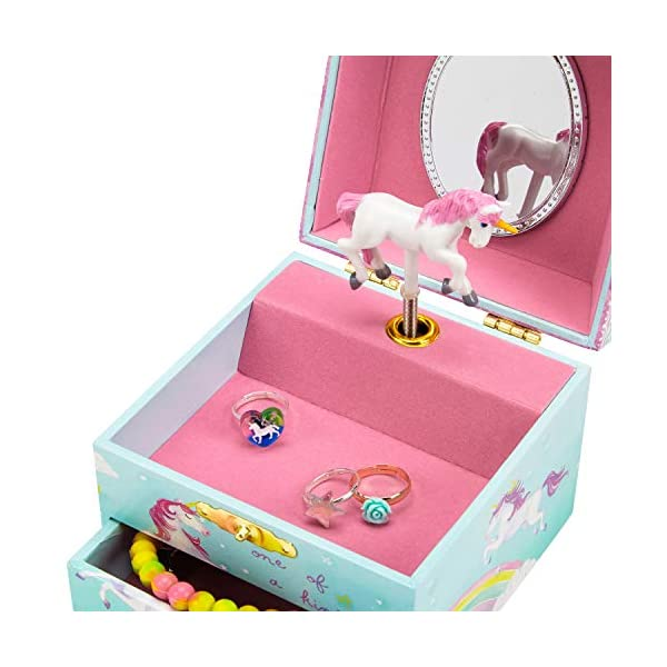 Jewelkeeper Musical Jewelry Box, Unicorn Rainbow Design with Pullout Drawer, The Unicorn Tune 6