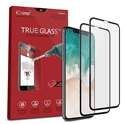iCarez [Full Coverage Tempered Glass Screen Protector for iPhone 11 Pro iPhone X/Xs 5.8-Inch (Case Friendly) Easy Install [2 Pack 0.3MM 9H 2.5D]