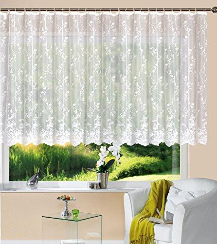 Gardine Store Jacquard Mainz HxB 145x300 cm Kräuselband Universalband Weiß Blumenmuster Transparent Voile Vorhang Wohnzimmer, 13144
