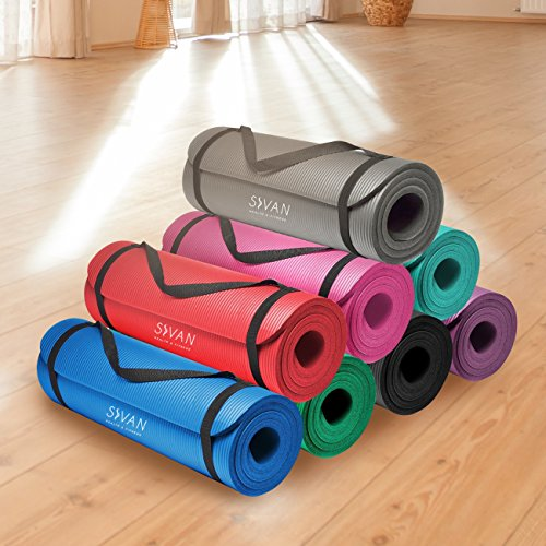 Sivan Health and Fitness 1/2-InchExtra Thick 71-Inch Long NBR Comfort Foam Yoga Mat for Exercise, Yoga, and Pilates (Grey)