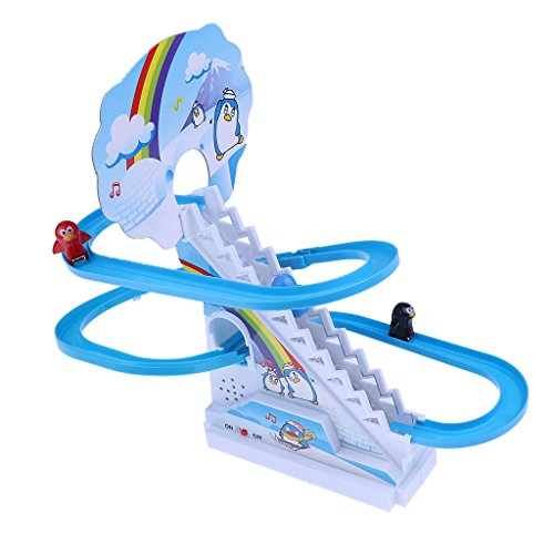 Giocattolo Pista Corsa Elettrica Figure Animale Fumetto Scivolato Scalini Musica Plastica ABS - Pinguino