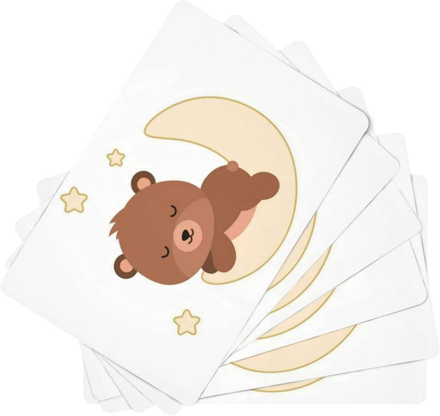 Adorable Flat Ultra-Cheap Deals Bear Sleeping Leather of Set 6 Waterpr Max 55% OFF Placemats