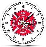 Relojes De Pared Bombero Cruz De Malta Reloj Vintage Primeros Auxilios Insignia Del Departamento De Bomberos Logotipo Reloj De Pared Con Números Romanos Regalos Para Bomberos -30X30Cm