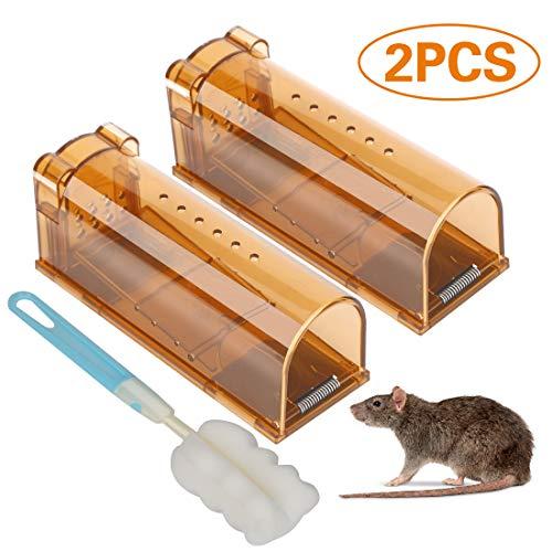 Mausefalle Lebend,2 Stück Mausefalle Kastenfalle ,Wiederverwendbare Lebendfalle -No Kill Smart Traps Mäuse mit Lebendfang,Haustiere und Kinderfreundlich,Professionell Kastenfalle für Küche Garten