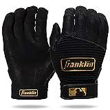 Franklin Sports MLB Pro Classic Baseball Batting Gloves Pair - Black/Gold - Adult Medium