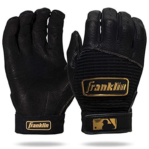 Franklin Sports Adult MLB Pro Classic Batting Gloves, Large, Pair, Black/Gold