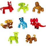 Zing Stikbot Animal Pack - Stop Motion Action Figures - 8 Pack with 2X Monkey, Dog, Cow, Gorilla, Horse, Panda, Dino