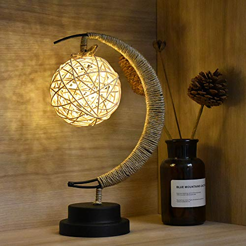 BuyWin Novelty Wicker Rattan Ball Night Light LED Spherical Bedside Table Lamps Decorative Motif Desk Lamp for Home Drawing Room Nursery Bedroom, USB Power(Rattan Ball)
