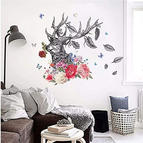 Estilo de pintura de la mano Flor Animal Ciervos Pegatinas de pared Peony Rose Sala de estar Art Decalation Dormitorio en la pared Decoración Murales