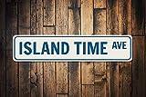 Yilooom Island Time Ave Sign, señal de Calle de Playa Personalizada, Regalo para Amantes del océano, decoración de casa de Playa, decoración del hogar del mar de Metal, Islas de Aluminio de Calidad