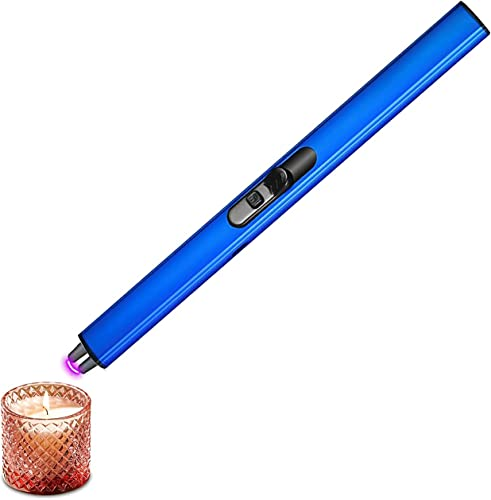 """wholesale RiamxwR popular Electric Lighter Candle Camping Lighter USB Rechargeable Lighter with high quality Safety Switch Longer Flexible for Camping Cooking BBQs Fireworks, Flameles Windproof Plasma Long Lighter, 7"""" (Blue) online"""