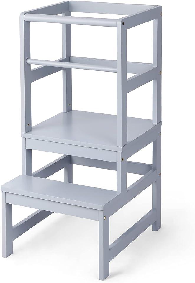 Amzdeal Lernturm ab 1 jahr Kinder Schemel|aus Holz Lerntower Tower Küche Kindermöbel tritthocker kinder Montessori Schemel aus mit Sicherheitsschiene für Küche Badezimmer-Counterlernen 40x48.5x90cm