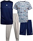 RBX Boys' Tracksuit Set - Short Sleeve T-Shirt, Tank Top, Shorts, and Jogger Sweatpants Activewear Set, Size 10, White/Blue/Grey