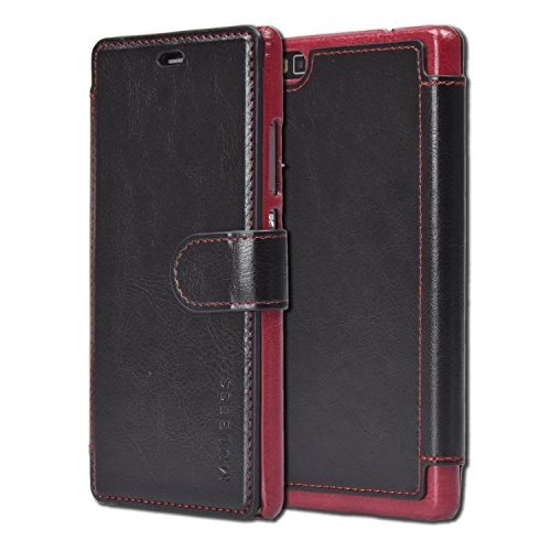 Mulbess Handyhülle für Huawei P8 Hülle Leder, Huawei P8 Handytasche, Layered Flip Schutzhülle für Huawei P8 Hülle, Schwarz