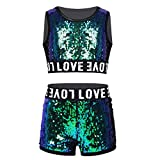 Yeahdor Kids Girls Shiny Sequins Hip-hop Jazz Performance Costumes 2 Pieces Dancing Outfits Crop Tops with Shorts Set Black Green 14