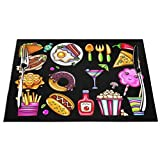 Fast Food Donut Pizza Burger Hot Dog Coffee Placemats, Woven Place Mats for Kitchen, Coffee Room, Parties and Dinning Decoration Black 1 Pcs