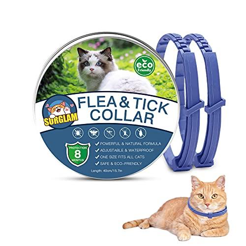 Collare Antipulci e Zecche per Gatti, Collare Antipulci per Gatti Impermeabile Misura Regolabile e Naturale con Protezione di 8 Mesi, pulci e zecche Trattamento Efficace per Gattini