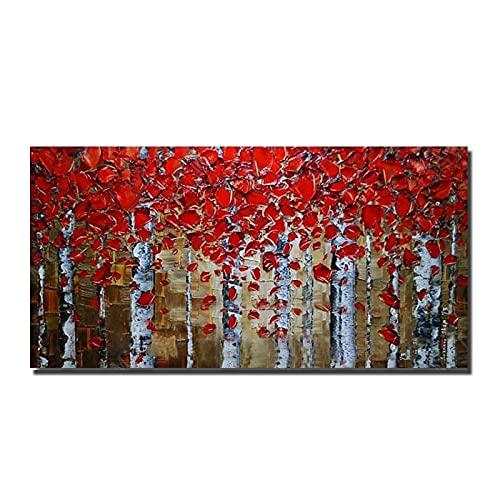 Grande Dimensione No Cornice Dipinto A Mano Astratto Pittura Ad Olio Moderna Olio Spesso Coltello Alberi Olio Pittura Sulla Tela Quadri Parete Arte Home Decor, Senza Cornice, 100X200Cm (39,4X78,7
