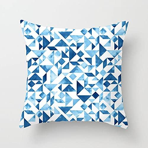 WUSUOWEIJU Funda Cojin Cian, Azul Geométrico,Juego De 1 Funda De Almohada Cuadrada De Fibra Superfina De Cojín para Decoración del Hogar,45 X 45 Cm con Cremallera Invisible