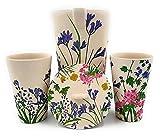 jarras, jarras y decantador de agua más vaso de agua de fibra de bambú – Biodegradable sin BPA – Eco-Friendly certificado UE (flores moradas)