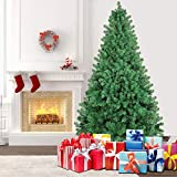 SHareconn 7.5ft Unlit Premium Artificial Spruce Hinged Christmas Tree with 1800 Branch Tips and...