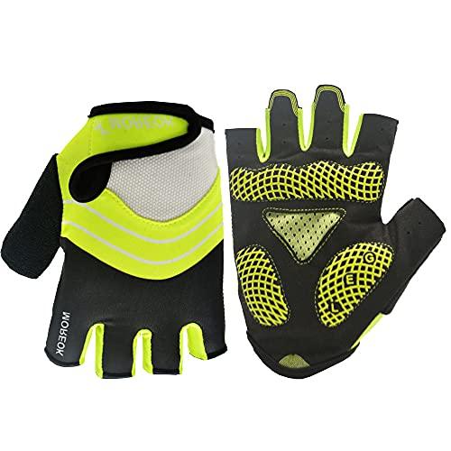 Guantes de Deportes al Aire Libre Antideslizantes de Silicona con absorción de Impactos de Medio Dedo para Montar en Bicicleta de montaña-Verde 1-S-D24