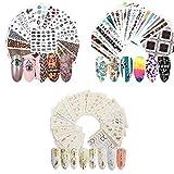 74 Fogli Adesivi per Unghie Fai Da Te, Adesivi Unghie Decalcomania Trasferimento ad Acqua, Adesivi per Unghie Autoadesivi, per Donne Nails Design Salon
