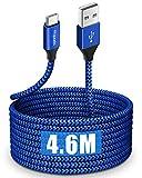 etguuds Extra Long Câble USB C 4.6M, Nylon Cable Chargeur Type C de Données Rapide pour Samsung...