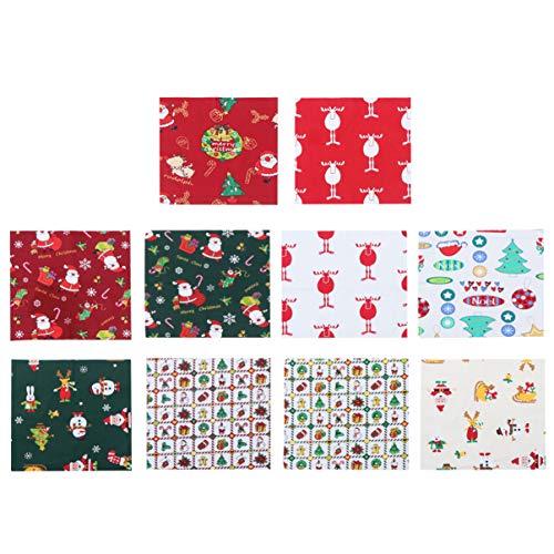 SUPVOX 10 Piezas Tela de Algodón de Navidad para Patchwork Costura Artesanía Bricolaje Manualidades (estilo aleatorio)