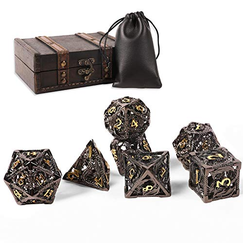 AncientDeer DND Dice Set 7 Pieces D&D Pure Copper Hollow Polyhedral DND Dice W  Gift Box & Dice Bag for DND Game RPG Explorers Savage World and Table Games DND Dungeons and Dragons Role Playing Games