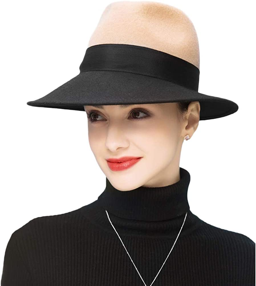 F FADVES Wide Brim Fedora Womens Cloc Ribbon Wool Over item Super special price handling ☆ with Felt Hats