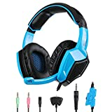 Sades Xbox PS4 Gaming Headset with Mic, SA-920 New Version Over Ear Stereo Gaming Headset Volume control for Mac PC Laptop Xbox 360 iPhone Smart phone (Blue)