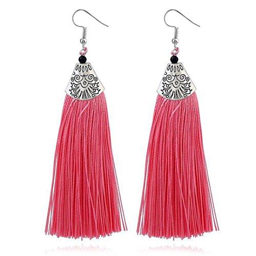 Pendientes Borla Mujer Pendientes Largos Fiesta De Bodas, FAMILIZO Estilo vintage Rhinestones Crystal Tassel Dangle Stud Pendientes de joyería de moda (Rosa caliente)