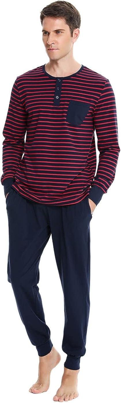 Men's Cotton Pajama Set Soft Long Sleeve Pjs Striped Sleepwear Loungewear Sets