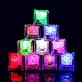 Waterproof Led Ice Cube, 24 Pack Multi Color Flashing Glow in The Dark LED Light Up Ice Cube for Bar Club Drinking Party Wine Wedding Decoration