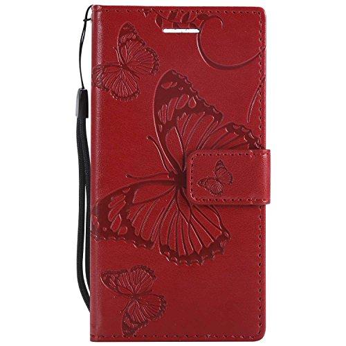 DENDICO Cover Sony Xperia XZ1 Compact, Pelle Portafoglio Custodia per Sony Xperia XZ1 Compact Custodia a Libro con Funzione di appoggio e Porta Carte di cRossoito - Rosso