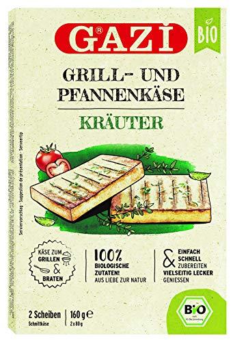 Gazi BIO Grill- und Pfannenkäse Kräuter - 10x 160gramm - Pfannenkäse Pfanne Grillkäse Grill Ofenkäse Ofen 43% Fett in Vakuumverpackung Schnittkäse Käse mikrobielles Lab Halal vegetarisch glutenfrei