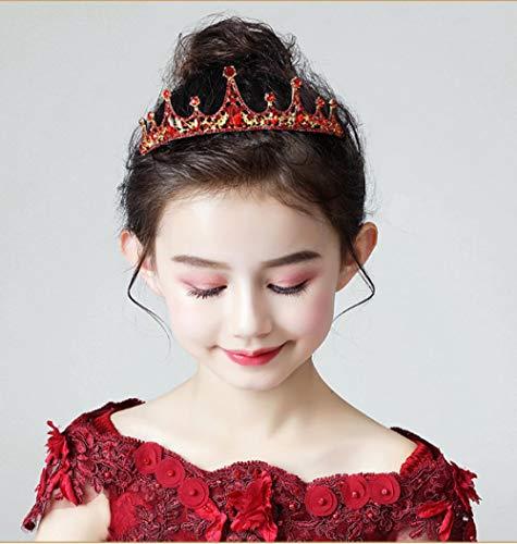 Kinderen Kroon Hoofdtooi Prinses Meisje Kroon Kristal Rood Haarband Bevroren Kid Verjaardag Hosting Haaraccessoires