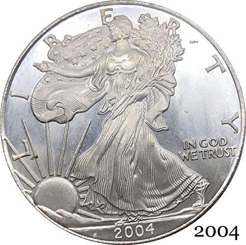 Estados Unidos 2004 W In God We Trust Moneda conmemorativa plateada de un dólar Águilas de lingotes de plata fina de 1 OZ Estado de América América 2004 W In God We Trust...