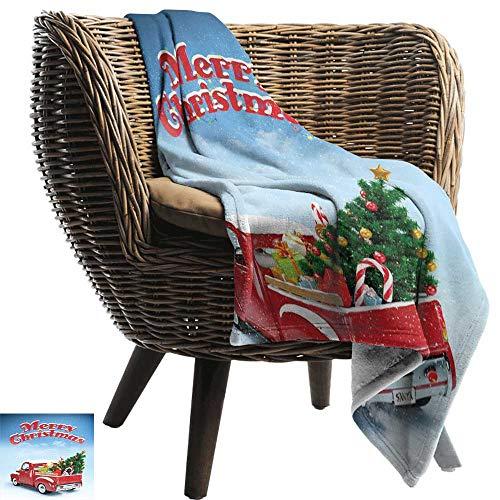 ZSUO gooien deken voor bank Kerstmis, Oude Kerstman leveren geschenken op zijn motorfiets Swirled Lines Frame Rood Lichtblauw Gooi Lichtgewicht Cozy Pluche Microvezel Effen deken