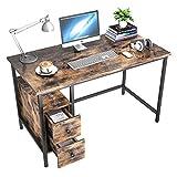 GIKPAL Escritorio de Computadora, Mesa de Ordenador Escritorio Estructura de Acero con Cajón, Mesa de Estudio Portátil Grande para Oficina en Casa - Retro