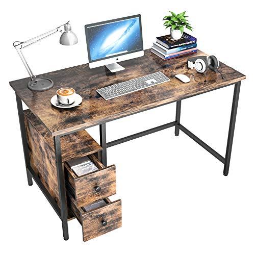 Schreibtisch mit 2 Schubladen, GIKPAL Computertisch Bürotisch aus Stahl & Holz, 120 x 60 x 75 cm Laptop-Schreibtisch Officetisch Arbeitstisch für Arbeit/Spiele/Homeoffice, modern & einfach (Retro)