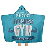 qisile Toalla de baño Fitness,Kids Hooded Wearable Robe Blanket Fit for Life Bodybuilding Sport Biceps Sportsman Athletic Muscular Form for Girls and Boys Cute Towel Gift Set Blue Dark Blue White,51
