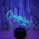 Luces nocturnas 7 colores Trompeta acrílica 3D Luz nocturna Instrumentos musicales creativos Lámpara de mesa Decoración de la habitación Navidad Navidad GIF T Juguete