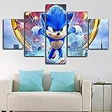 6Lv5Panel Impresiones sobre Lienzo Sonic The Hedgehog 2020 Poster 5 Piezas Lienzo Impresin Pared Arte Decoracin-150 * 80Cm-con Marco